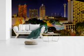 Fotobehang vinyl - Panorama van de  Noord-Amerikaanse San Antonio in Texas breedte 480 cm x hoogte 240 cm - Foto print op behang (in 7 formaten beschikbaar)