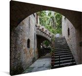 Trappen in de oude stad van Rhodos Canvas 90x60 cm - Foto print op Canvas schilderij (Wanddecoratie woonkamer / slaapkamer)