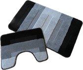 Badkamer set - Brize set stroken zwart 50x80 cm + 40x50 cm