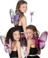 12 stuks: Set Vlinder in 3 kleuren - assorti - vleugels en stafje