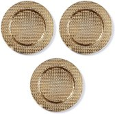 3x Ronde gouden kaarsenplateaus/kaarsenborden met gevlochten patroon 33 cm - onderborden / kaarsenborden / onderzet borden voor kaarsen