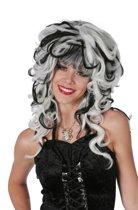 Halloween duivelse zwart/wit dames pruik