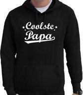 Coolste papa cadeau hoodie zwart heren - zwarte Coolste papa kado sweater/trui met capuchon L