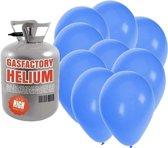 Helium tank met 50 blauwe ballonnen - Blauw - Heliumgas met ballonnen voor een thema feest