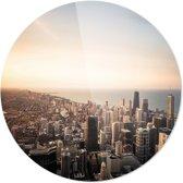Chicago | Steden | Rond Plexiglas | Wanddecoratie | 90CM x 90CM | Schilderij | Foto op plexiglas