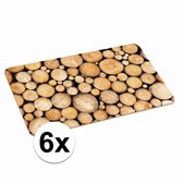 6x placemats met boomstronk print 44 x 28 cm
