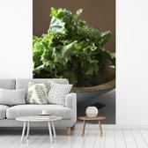 Fotobehang vinyl - Bladmoes op een houten ondergrond breedte 190 cm x hoogte 280 cm - Foto print op behang (in 7 formaten beschikbaar)