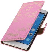 Lace Bookstyle Hoes voor Huawei Honor 6 Plus Roze