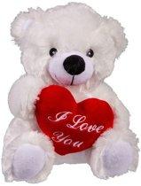 Valentijsdag knuffelbeertje I love you wit - Pluche teddybeer met hartje
