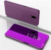 Let op type!! Voor Xiaomi Redmi 8A plating spiegel horizontale Flip lederen draagtas met beugel holster (paars)