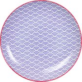 Tokyo Design Studio Star/Wave Plate 25.7x3cm Wave Purple/Red Rim