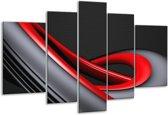 Glasschilderij Modern | Rood, Grijs, Zwart | 170x100cm 5Luik | Foto print op Glas |  F004313