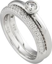 Diamonfire - Zilveren combinatiering Maat 17.5 - Gladde solitaire ring - Pav' bezet