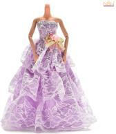 Paarse Prinsessenjurk of trouwjurk met 3 lagen kant voor de Barbie pop