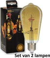 Filament LED lamp (ST64)|E27 | 2.5w |  2000K = Super Warm wit | = 16 Watt gloeilamp | Set van 2 lampen