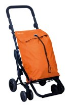 Playmarket Boodschappentrolley Go One Oranje 4 wielen - 36 L Inhoud - opvouwbaar - veiligheidsrem