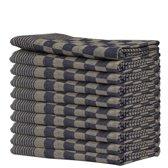 Queens 10-pack theedoeken 65x65 cm blauw