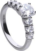 Diamonfire - Zilveren ring met steen Maat 19.5 - Zirkonia - Incl. Luxe LED Cadeaubox