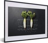 Foto in lijst - Twee rammenassen tegen een donkere achtergrond fotolijst zwart met witte passe-partout klein 40x30 cm - Poster in lijst (Wanddecoratie woonkamer / slaapkamer)