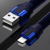 Let op type!! JOYROOM S-M359 1M 2.4 A USB naar 8 pin U vorm aluminium snel opladen & gegevens platte kabel voor iPhone 11 Pro Max/iPhone 11 Pro/iPhone 11/iPhone XR/iPhone XS MAX/iPhone X & XS/iPhone 8 & 8 plus/iPhone 7 & 7 Plus (blauw)