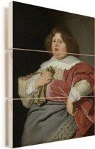 Portret van Gerard Andriesz Bicker - Schilderij van Bartholomeus van der Helst Vurenhout met planken 30x40 cm - klein - Foto print op Hout (Wanddecoratie)