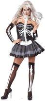 Zwart en wit sexy skelet kostuum voor vrouwen
