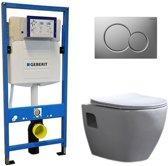 Geberit UP 320 Toiletset – Inbouw WC Hangtoilet Wandcloset – Daley Flatline Geberit Sigma-01 Mat Chroom