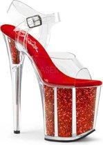 EU 38 = US 8   FLAMINGO-808G   8 Heel, 4 PF Ankle Strap Sandal w/Glitter-filled Bottom
