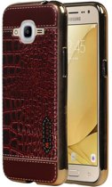 Wicked Narwal | M-Cases Croco Design backcover hoes voor Samsung Galaxy J2 2016 Rood