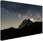 Melkweg over bergen Nepal Canvas 30x20 cm - Foto print op Canvas schilderij (Wanddecoratie)
