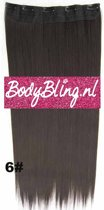 Clip in hairextensions 1 baan straight bruin - 6#