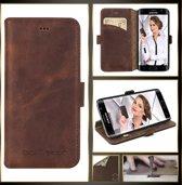 Echt Leer cover - Samsung Galaxy S6 hoesje - Lederen Book Case Bruin - WalletCase (Antic Brown)