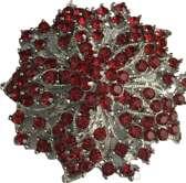 Broche bordeaux rood bloem