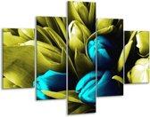Glasschilderij Tulp | Blauw, Zwart, Groen | 100x70cm 5Luik | Foto print op Glas |  F003752
