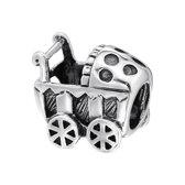Kinderwagen | Bedel | Sterling 925 Silver (Echt zilver) | Past op vele merken | Nikkelvrij
