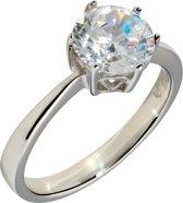 Classics&More Zilveren Solitaire Ring - Maat 60 - Zirkonia In Chaton 8 mm Gerhodineerd