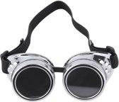 Steampunk goggles zonnebril - bril zilver - zilveren burning man space