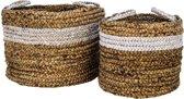 HSM Collection Mandenset Malibu - Waterhyacint - wit/naturel - set van 2