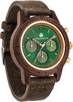 De officiële WoodWatch | Emerald Gold Khaki | Houten horloge heren
