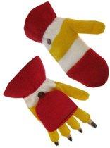 Vingerloze handschoen rood/wit/geel met kapje