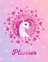 Planner: Unicorn Large Blank Primary Sketchbook Paper - Pink Purple Magical Horse Personalized Letter P Initial Custom First Na