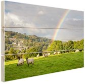 Schapen onder levendige regenboog Hout 30x20 cm - klein - Foto print op Hout (Wanddecoratie)
