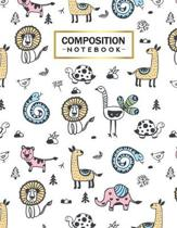 Composition Notebook: College Wide Ruled Line Paper for Writing Notes in School and Work with Cute Animals Themed Cover