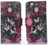Movizy walletcase iPhone 6(S) - Vlinder-bloem - zwart