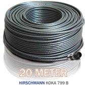 1x rol 20 meter Hirschmann Koka 799 zwart + 1x EX-6 Weaterproof F-connector gemonteerd
