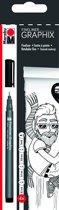 Fineliner Zwart 4p. - (4 punten : 0 2mm 0 4mm 0 8mm penseelpunt)