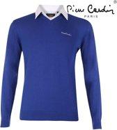 Pierre Cardin - Heren V-hals trui met overhemdkraag -Blauw