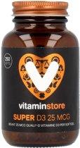 Vitaminstore - Super D3 25 mcg (1000 IE) - 250 softgels - Vitamine D 3 - Voor een normale opname van calcium