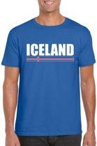 Blauw IJsland supporter t-shirt voor heren - IJslandse vlag shirts XL