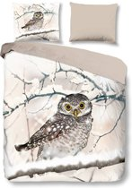 Snoozing Snowy Owl - Flanel - Dekbedovertrek - Lits-jumeaux 240x200/220 cm + 2 kussenslopen 60x70 cm - Sand